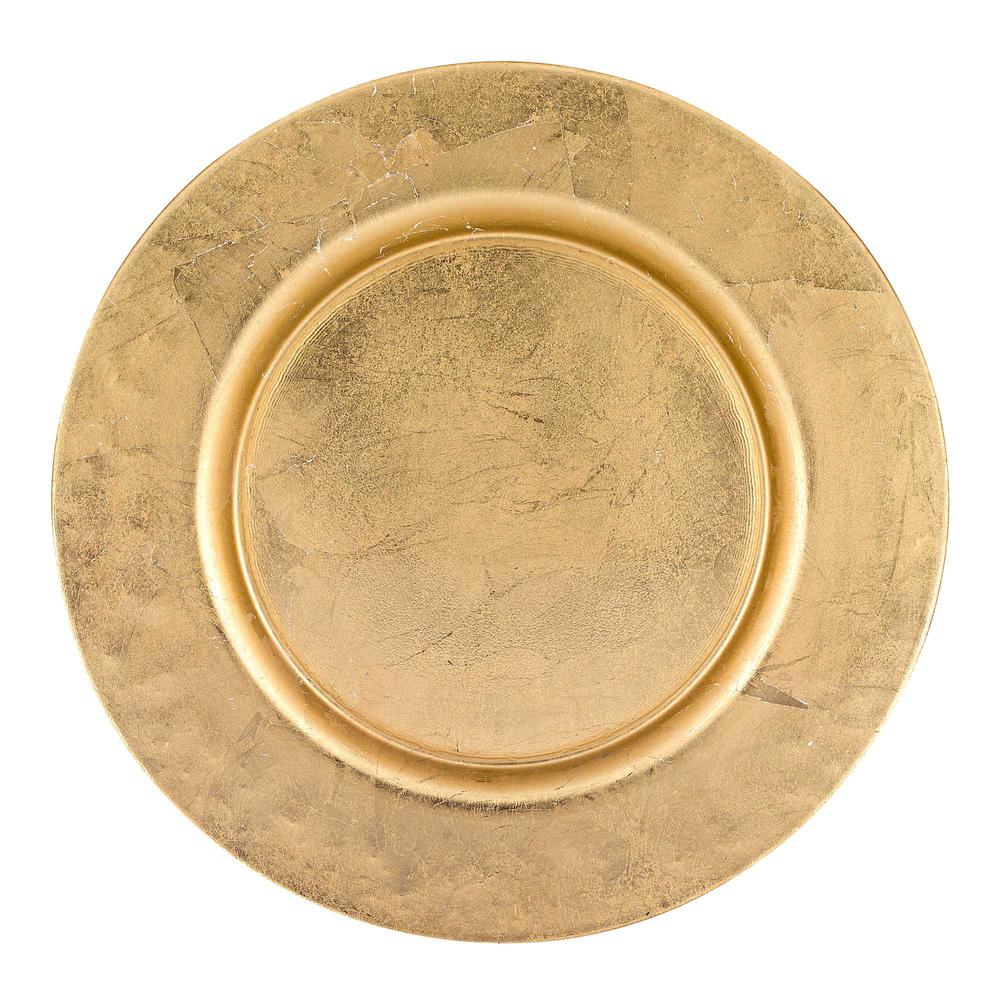 """13"""" Hand Crafted Glass Charger with Gold Rim Finish - 376154. Picture 1"""