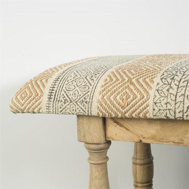 Rectangular Mango Wood Orange and Brown Upholstered Accent Bench - 376180. Picture 2