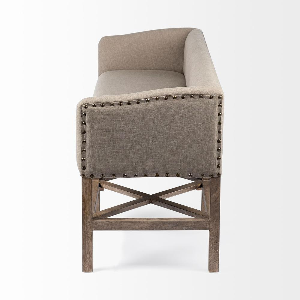 Rectangular Mango Wood/Light Brown Finish W/ Beige Fabric Covered Seat Accent Bench - 376184. Picture 2