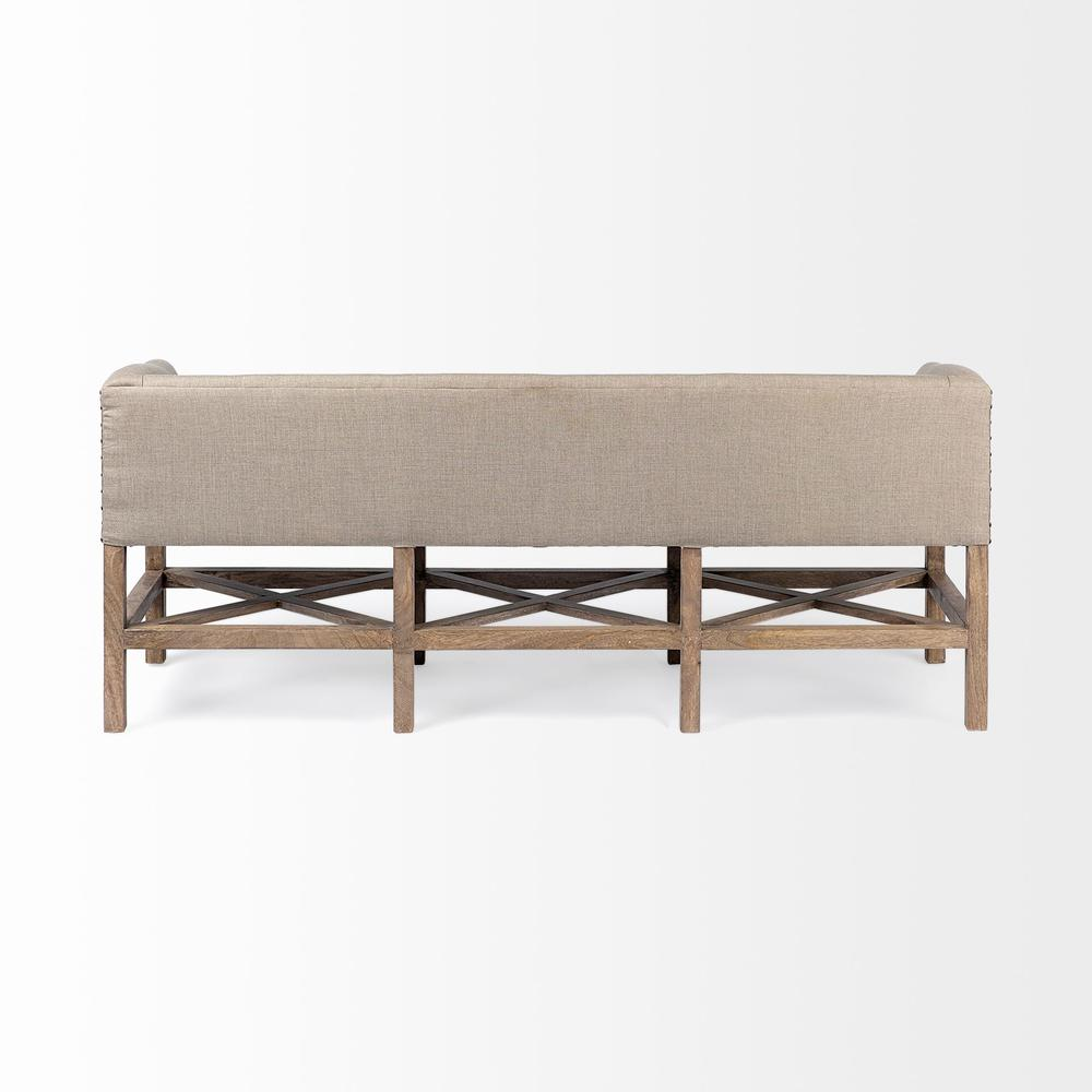 Rectangular Mango Wood/Light Brown Finish W/ Beige Fabric Covered Seat Accent Bench - 376184. Picture 3