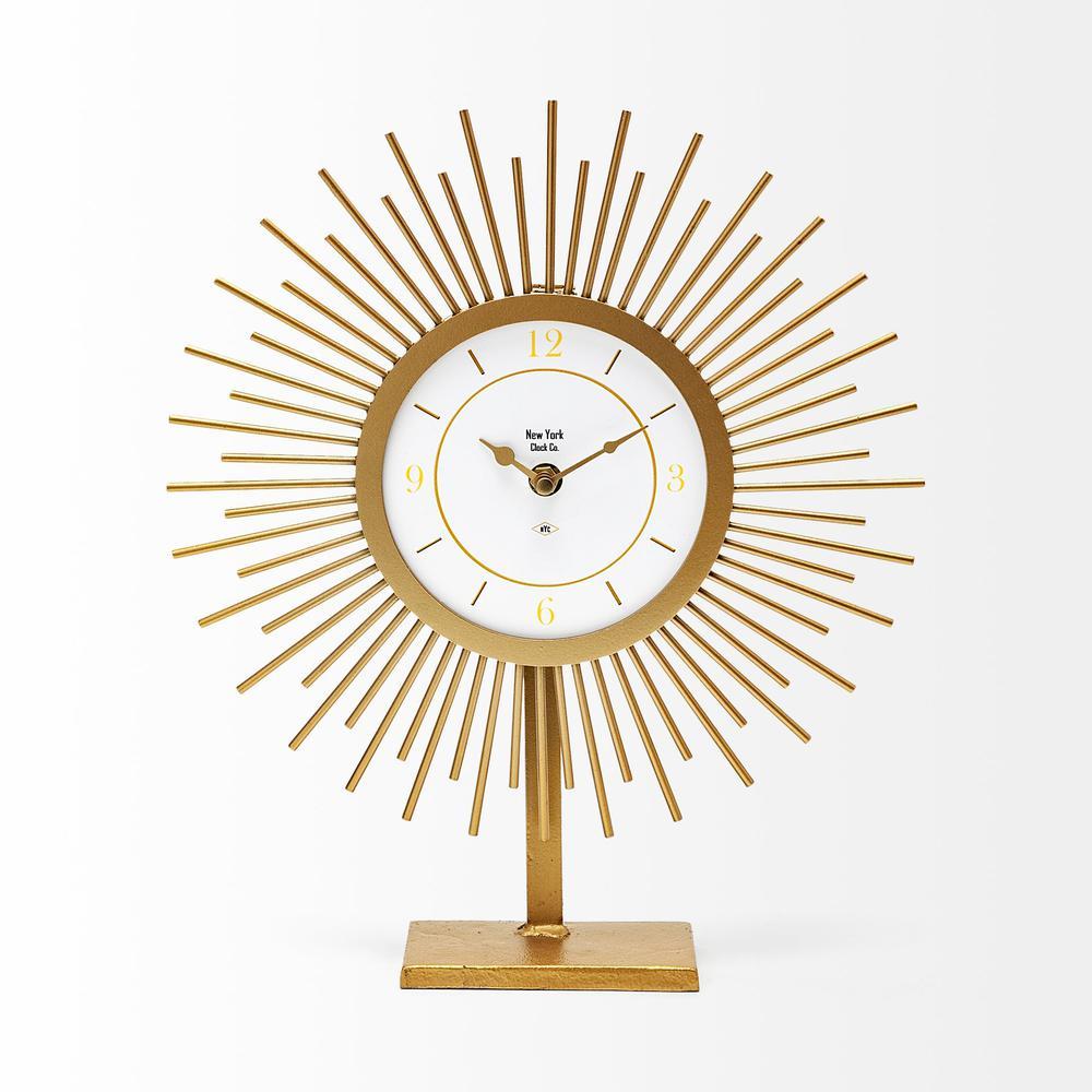 Sunburst Shape Gold Metal Desk / Tabletop Clock - 376199. Picture 1