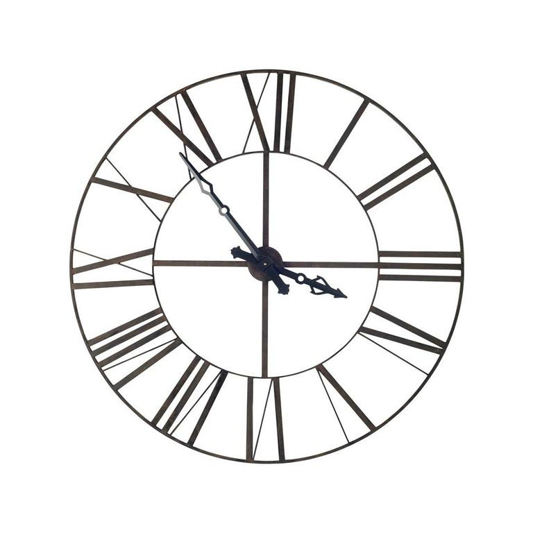 """50"""" Round XL  Industrial styleWall Clock w/ Open Back Face w/ Welded Iron Roman Numeral - 376232. Picture 2"""