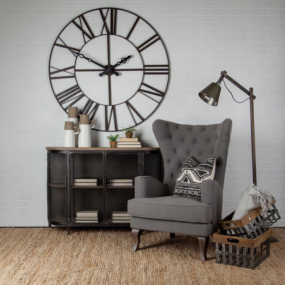 """50"""" Round XL  Industrial styleWall Clock w/ Open Back Face w/ Welded Iron Roman Numeral - 376232. Picture 3"""