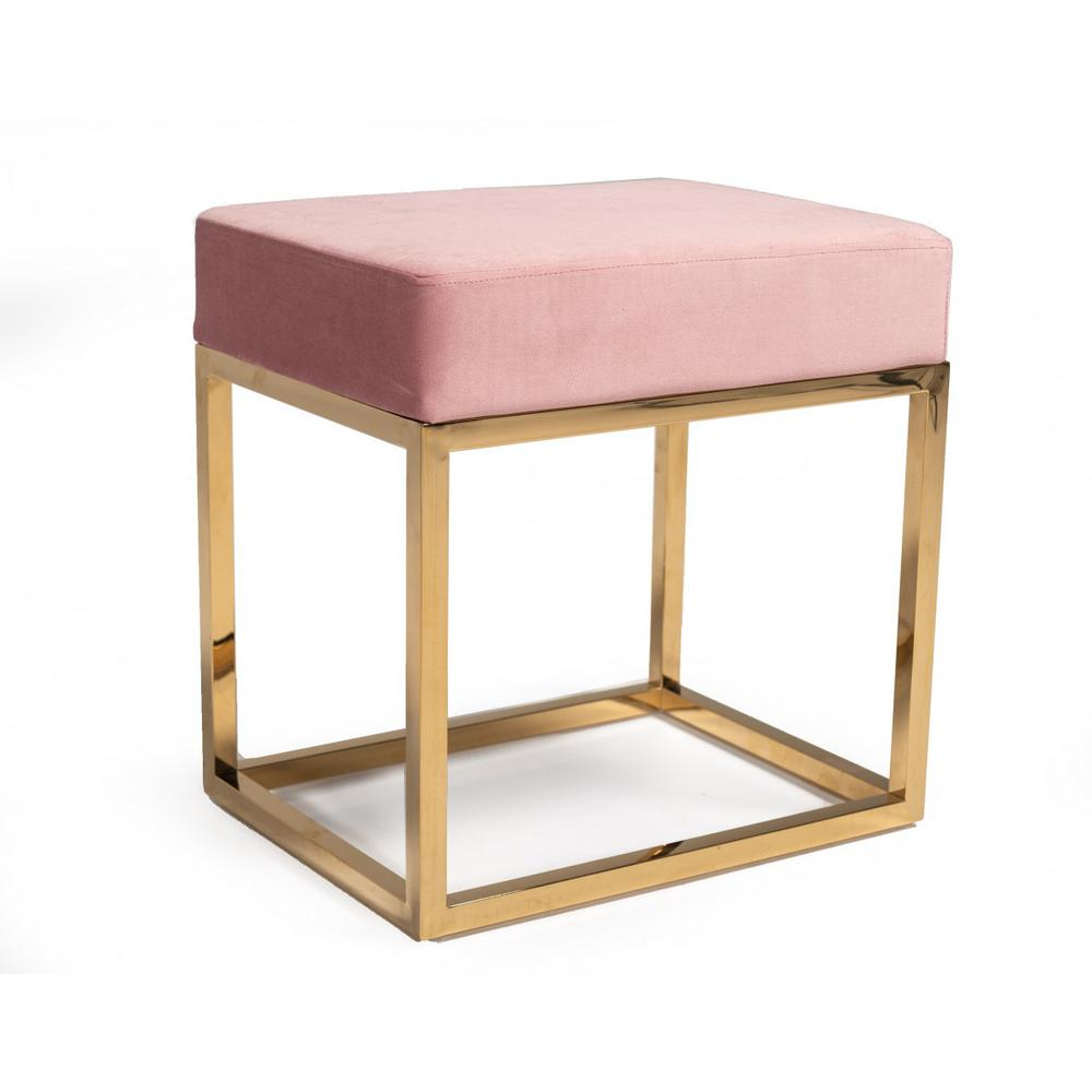 Square Modern Pink Velvet Ottoman with Gold Stainless Steel - 376319. Picture 1