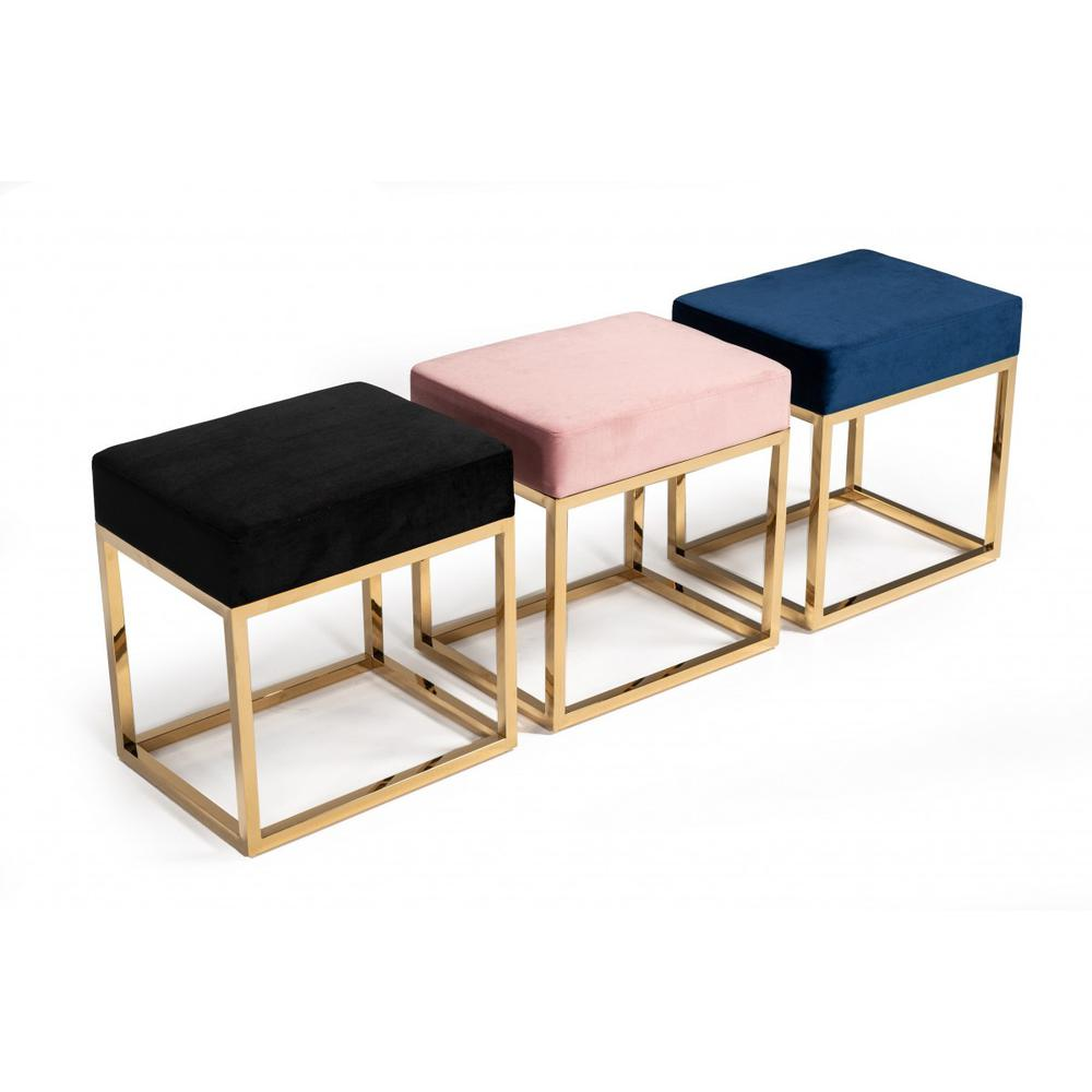 Square Modern Pink Velvet Ottoman with Gold Stainless Steel - 376319. Picture 3