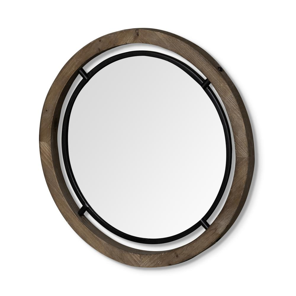 """28"""" Brown Wood and Black Metal Frame Wall  Mirror - 376408. Picture 1"""