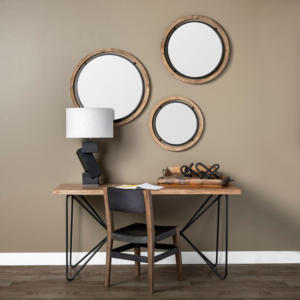 """28"""" Brown Wood and Black Metal Frame Wall  Mirror - 376408. Picture 5"""