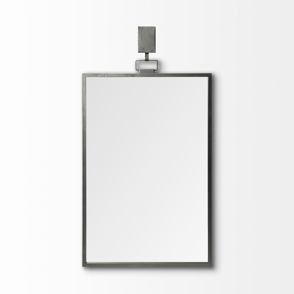 Rectangular Black Metal Frame Wall Mirror - 376410. Picture 2