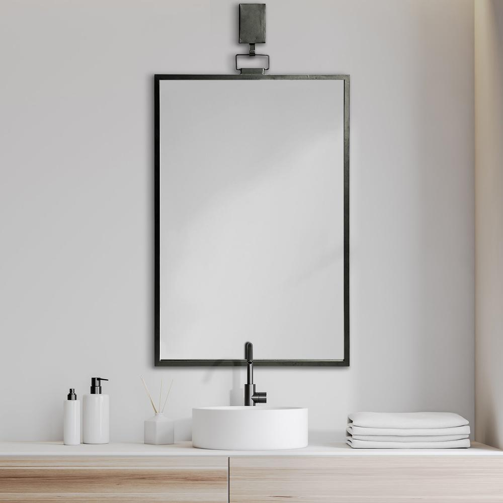 Rectangular Black Metal Frame Wall Mirror - 376410. Picture 6