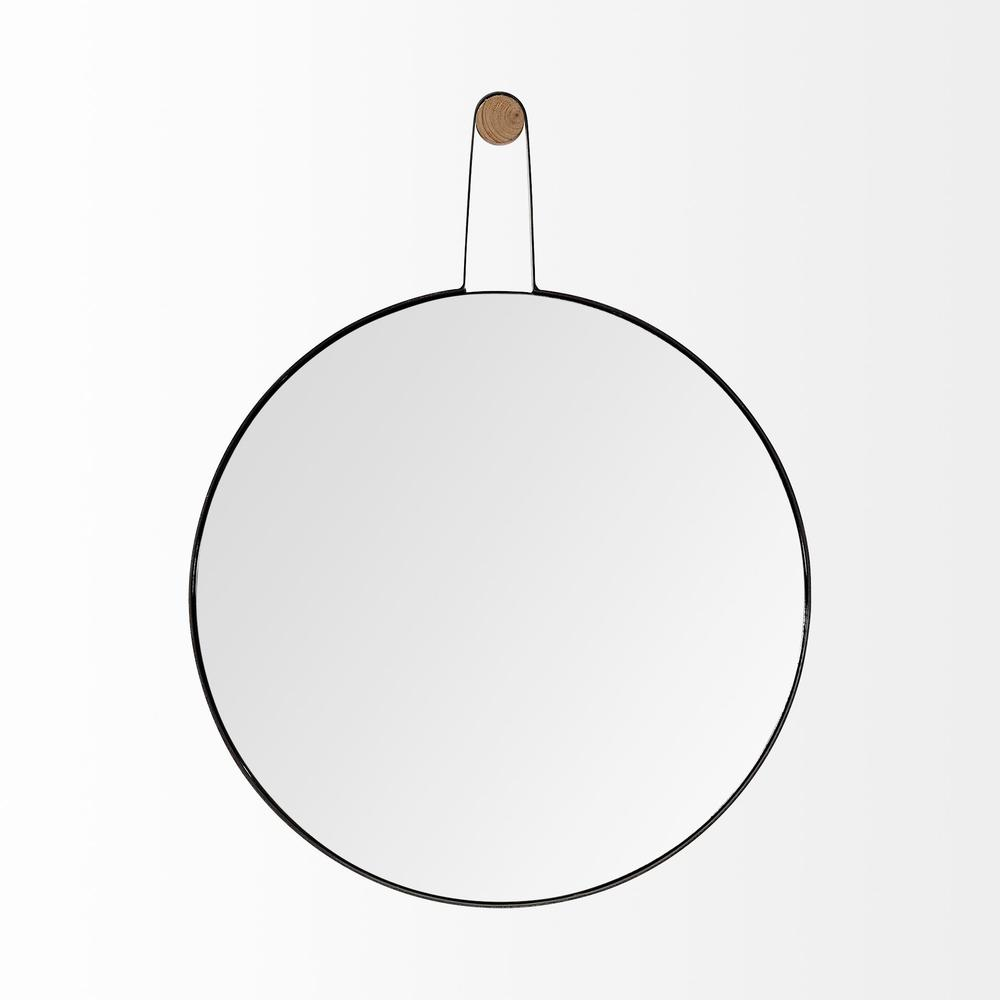Oval Black Metal Frame Wall Mirror - 376414. Picture 2