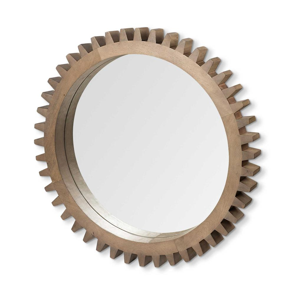 """35"""" Round Brown Wood Frame Wall Mirror - 376425. Picture 1"""
