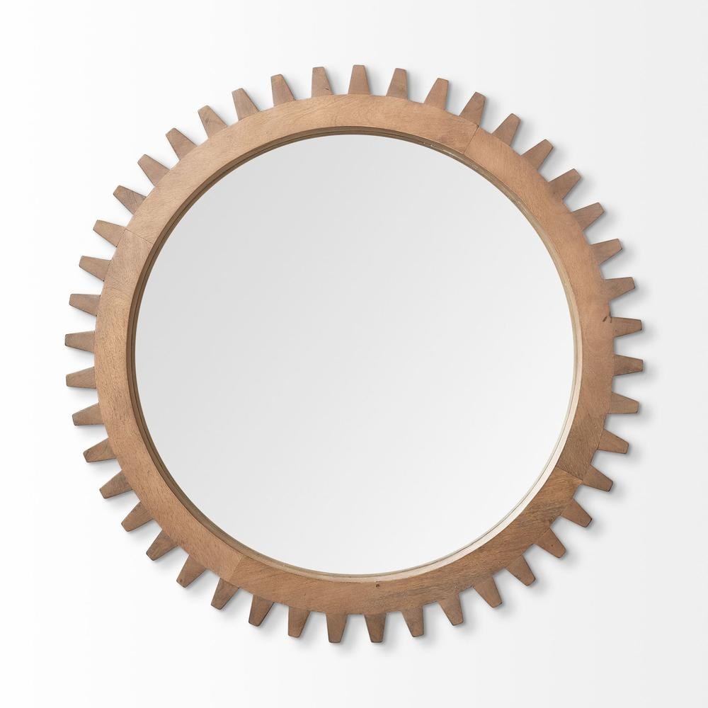 """35"""" Round Brown Wood Frame Wall Mirror - 376425. Picture 2"""