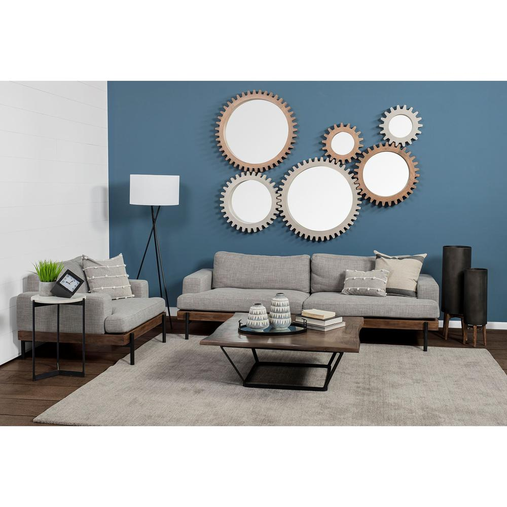 """35"""" Round Brown Wood Frame Wall Mirror - 376425. Picture 5"""