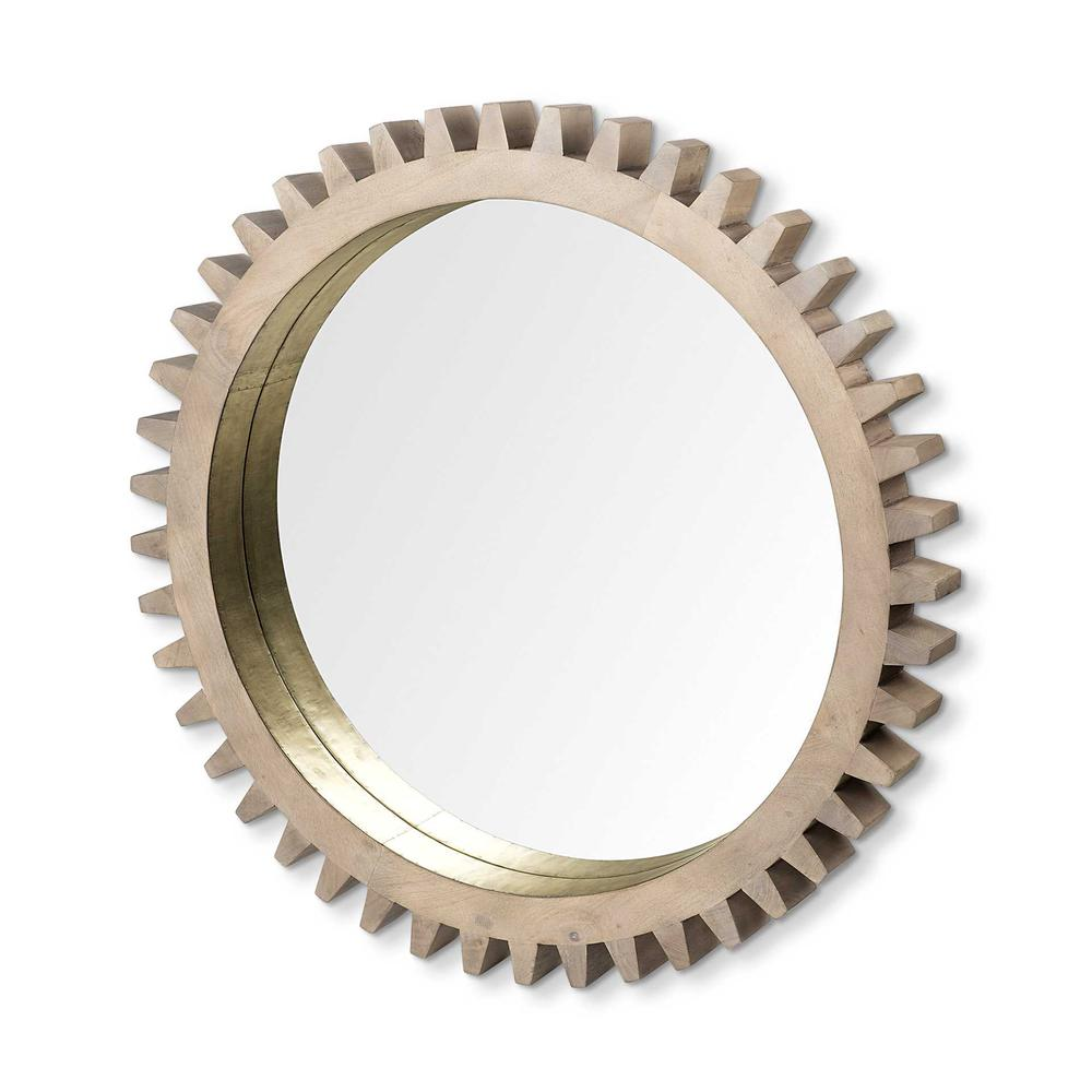 """35"""" Round Brown Wood Frame with Brass Metal Lining Wall Mirror - 376430. Picture 1"""