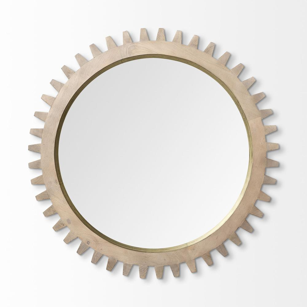"""35"""" Round Brown Wood Frame with Brass Metal Lining Wall Mirror - 376430. Picture 2"""