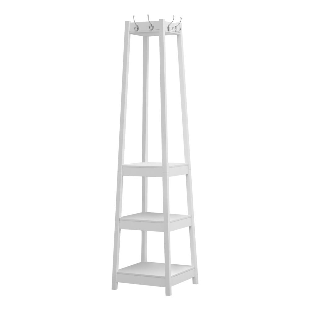 """72"""" White Corner Coat Rack with 3 Shelves - 376488. Picture 1"""