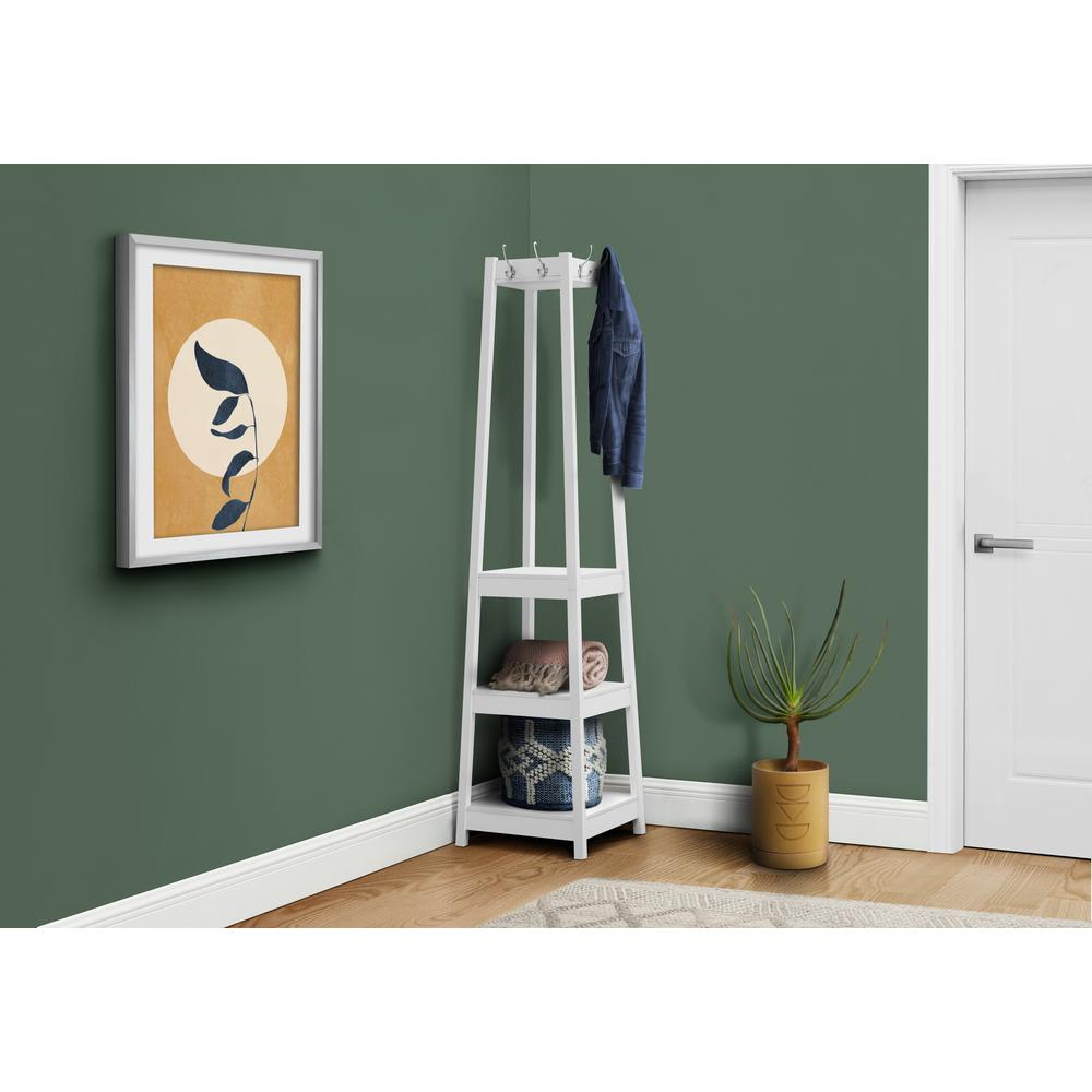 """72"""" White Corner Coat Rack with 3 Shelves - 376488. Picture 3"""