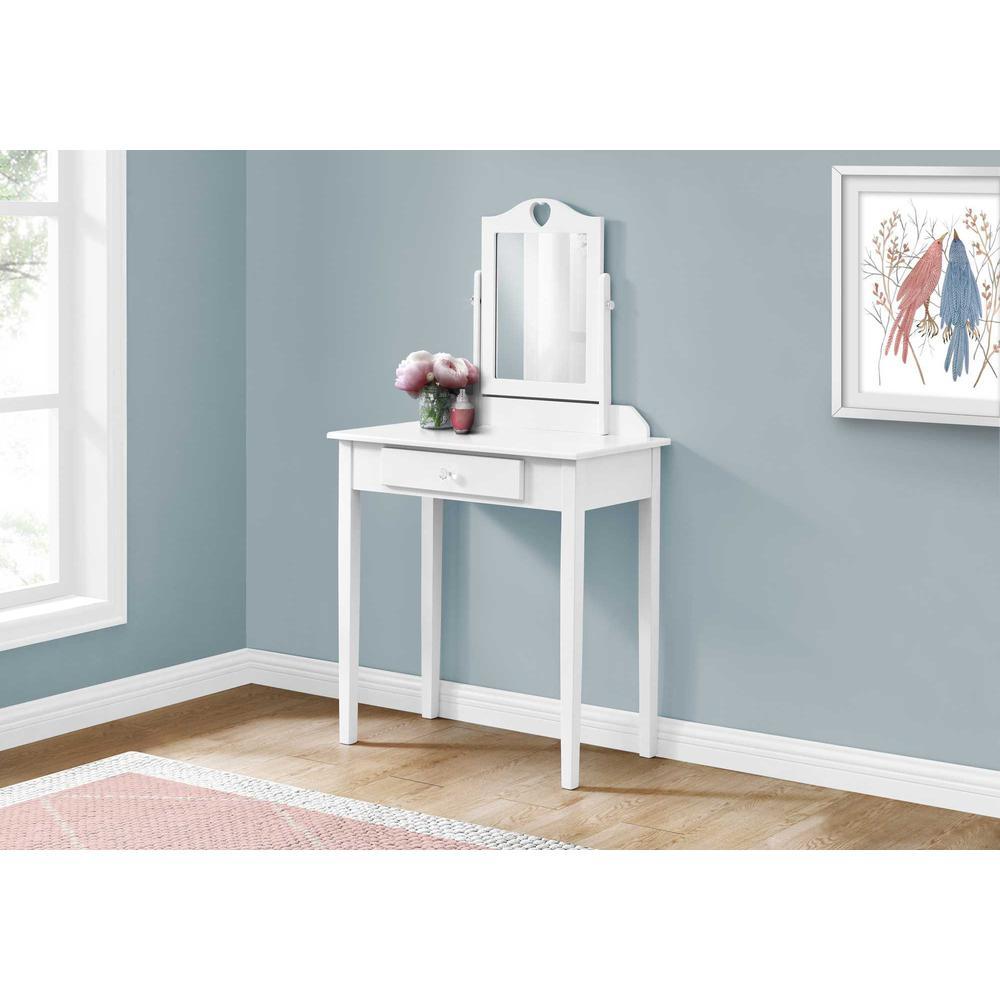 White Vanity Mirror and Storage Drawer - 376501. Picture 3