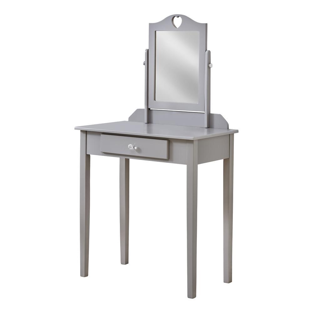 Grey Vanity Mirror and Storage Drawer - 376502. Picture 1