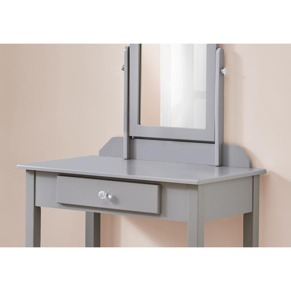Grey Vanity Mirror and Storage Drawer - 376502. Picture 2