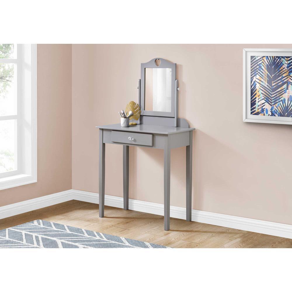 Grey Vanity Mirror and Storage Drawer - 376502. Picture 3