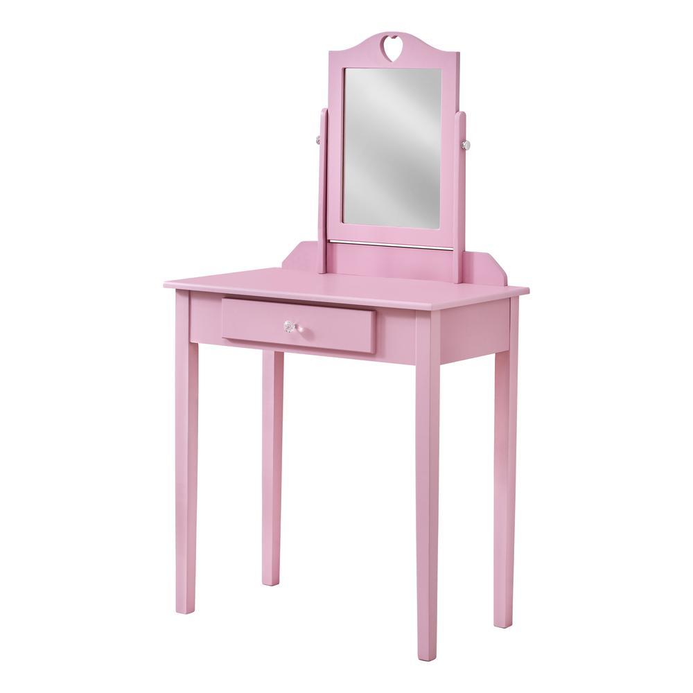 Pink Vanity Mirror and Storage Drawer - 376503. Picture 1