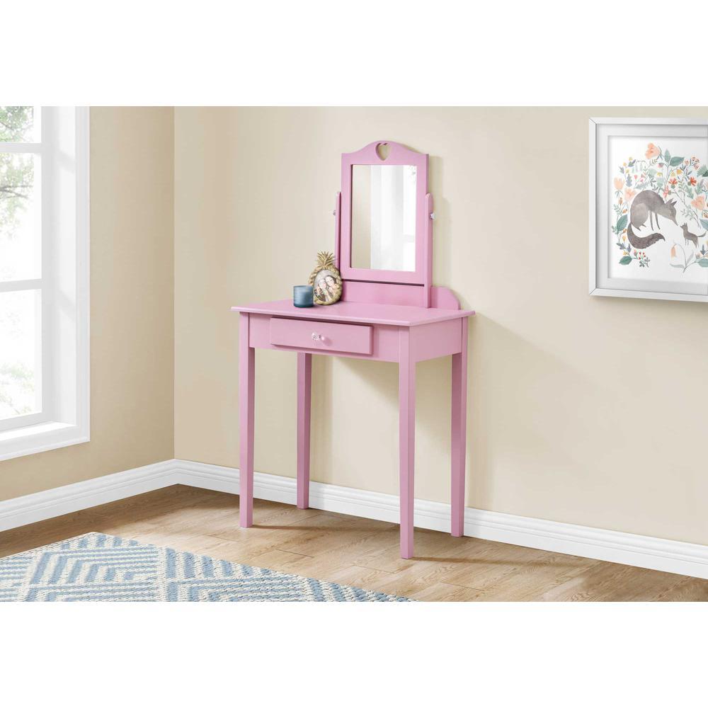 Pink Vanity Mirror and Storage Drawer - 376503. Picture 3