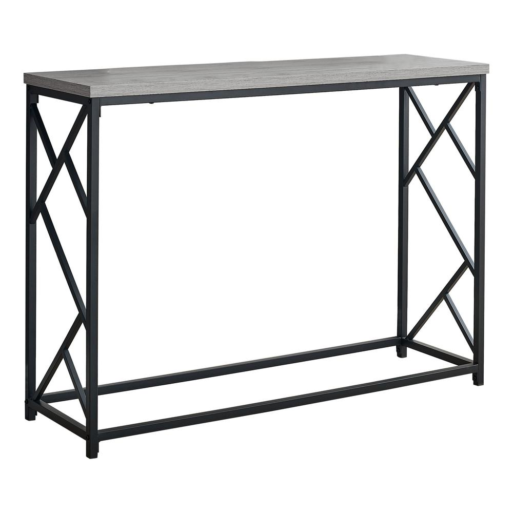 """44"""" Rectangular GreywithBlack Metal Hall Console Accent Table - 376505. Picture 1"""