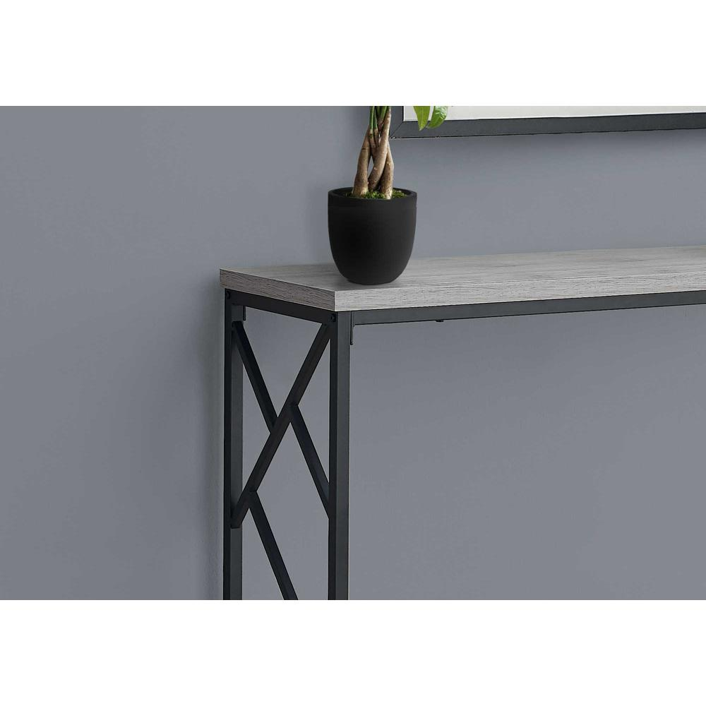 """44"""" Rectangular GreywithBlack Metal Hall Console Accent Table - 376505. Picture 2"""