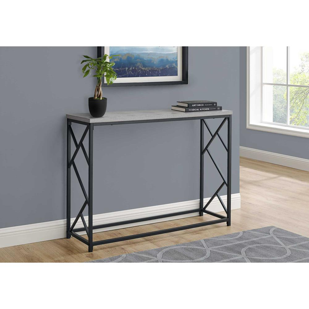"""44"""" Rectangular GreywithBlack Metal Hall Console Accent Table - 376505. Picture 3"""