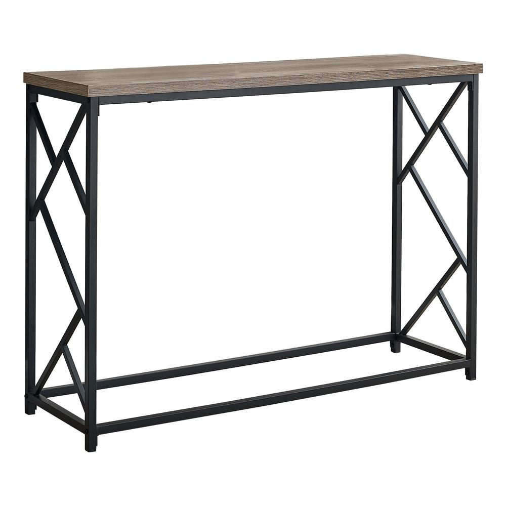 """44"""" Rectangular TaupewithBlack Metal Hall Console Accent Table - 376506. Picture 1"""