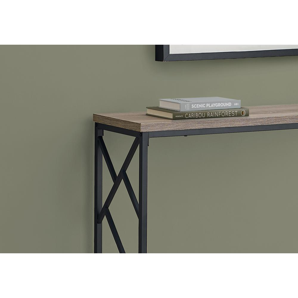 """44"""" Rectangular TaupewithBlack Metal Hall Console Accent Table - 376506. Picture 2"""