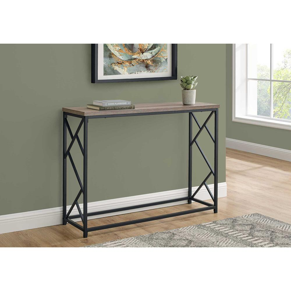 """44"""" Rectangular TaupewithBlack Metal Hall Console Accent Table - 376506. Picture 3"""