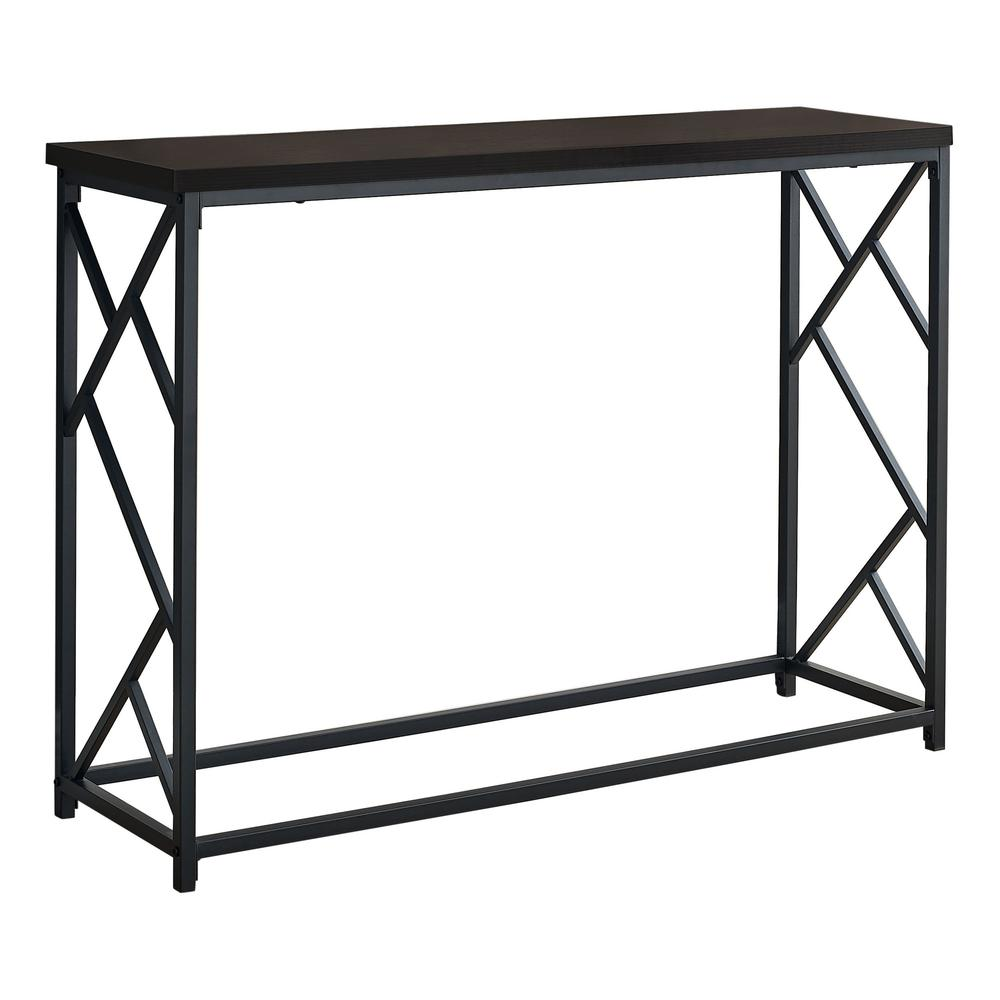 """44"""" Rectangular EspressowithBlack Metal Hall Console Accent Table - 376507. Picture 1"""