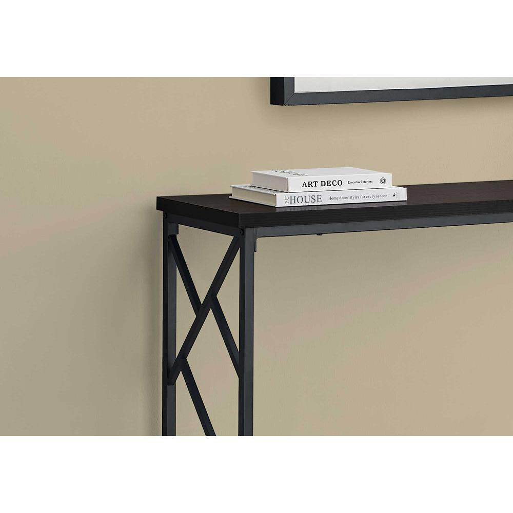 """44"""" Rectangular EspressowithBlack Metal Hall Console Accent Table - 376507. Picture 2"""