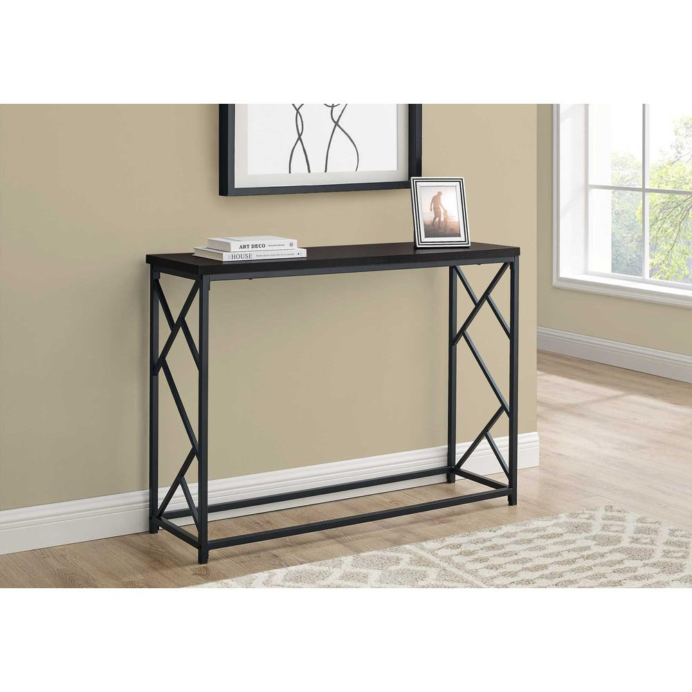 """44"""" Rectangular EspressowithBlack Metal Hall Console Accent Table - 376507. Picture 3"""