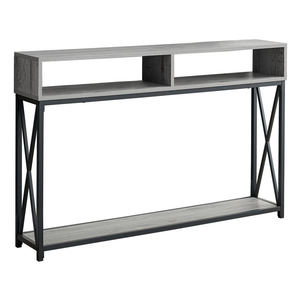 """48"""" Rectangular GreywithBlack Metal Hall Console with 2 Shelves Accent Table - 376508. Picture 1"""