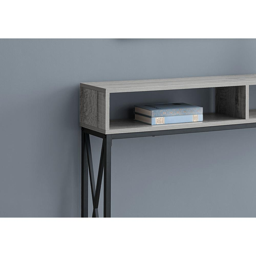 """48"""" Rectangular GreywithBlack Metal Hall Console with 2 Shelves Accent Table - 376508. Picture 2"""