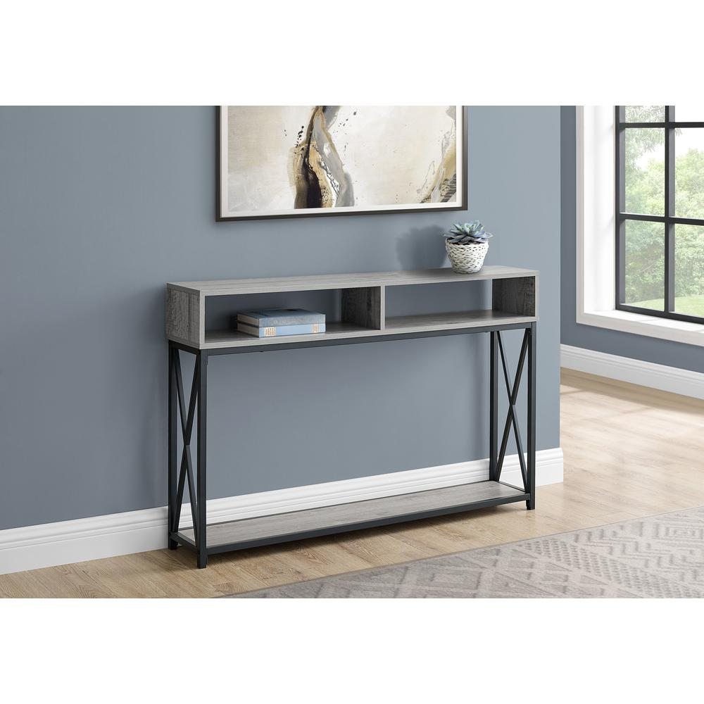 """48"""" Rectangular GreywithBlack Metal Hall Console with 2 Shelves Accent Table - 376508. Picture 3"""