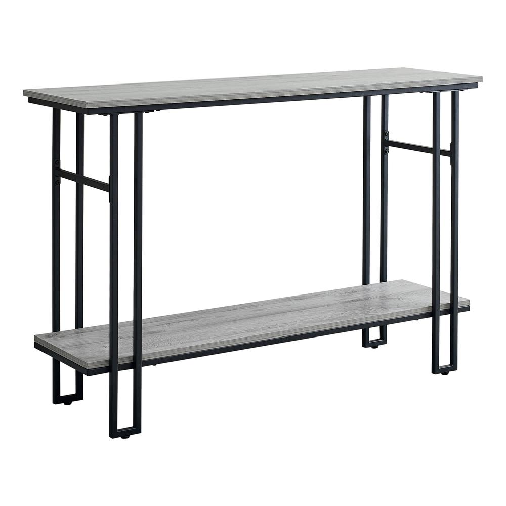 """48"""" Rectangular GreywithBlack Metal Hall Console Accent Table - 376511. Picture 1"""