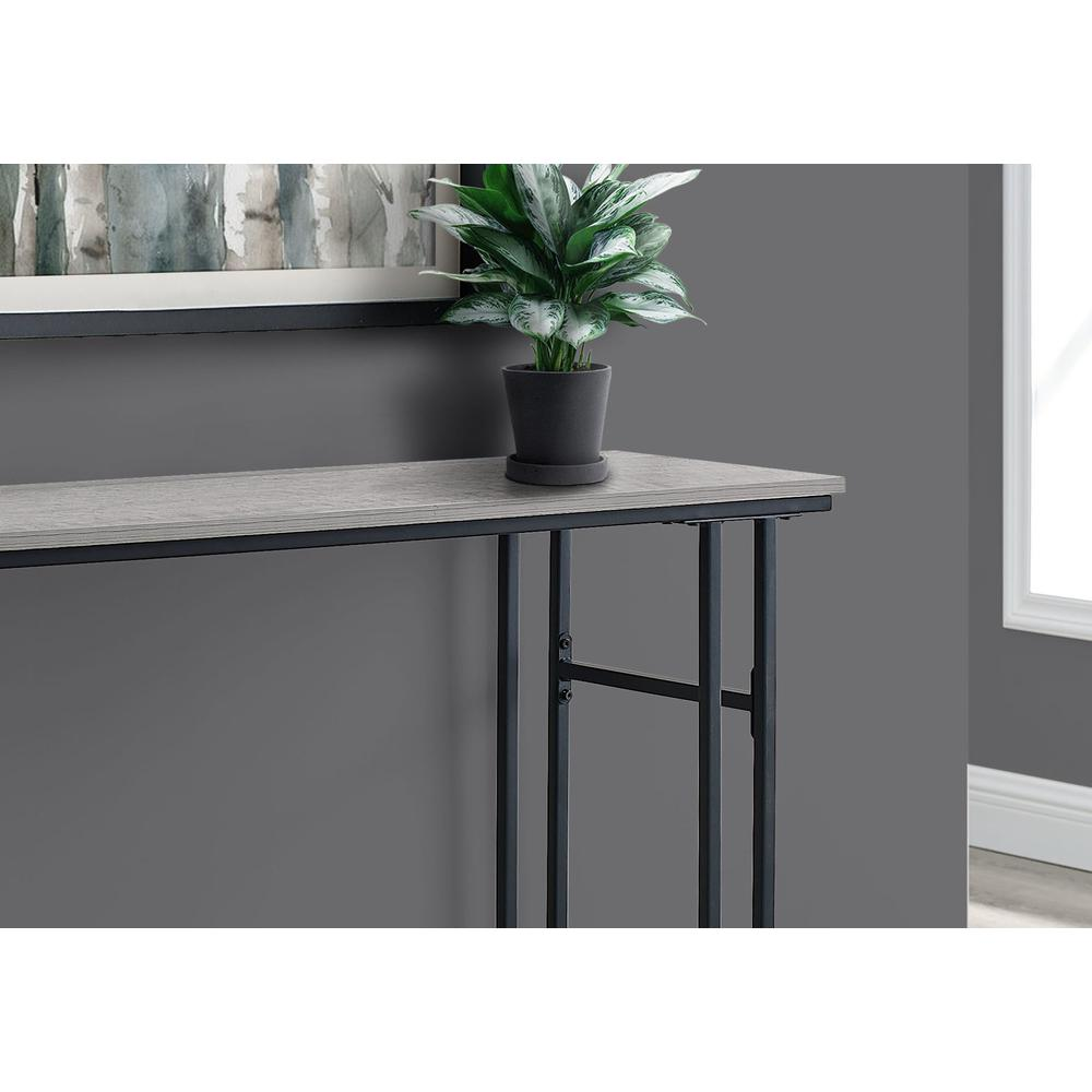 """48"""" Rectangular GreywithBlack Metal Hall Console Accent Table - 376511. Picture 2"""