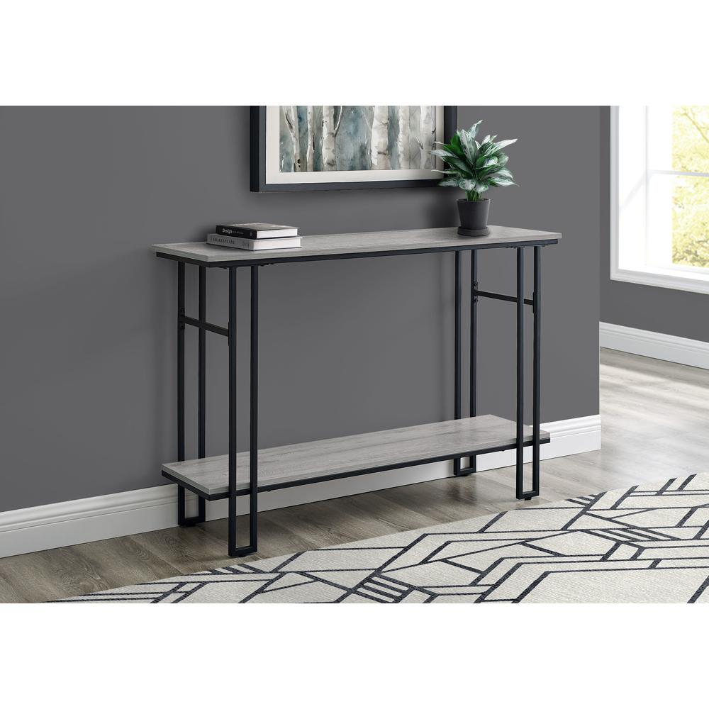 """48"""" Rectangular GreywithBlack Metal Hall Console Accent Table - 376511. Picture 3"""