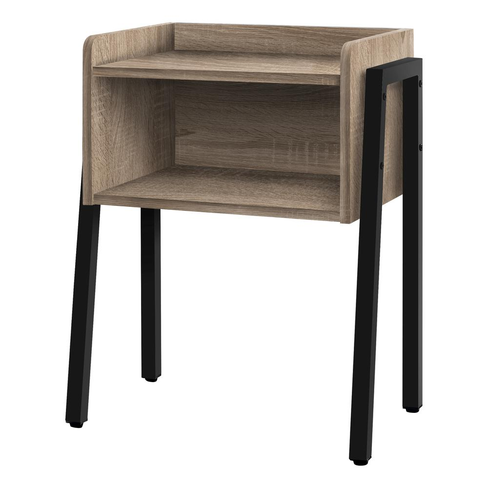"""23"""" Rectangular Dark Taupe Accent Table with Black Metal Legs - 376518. Picture 1"""