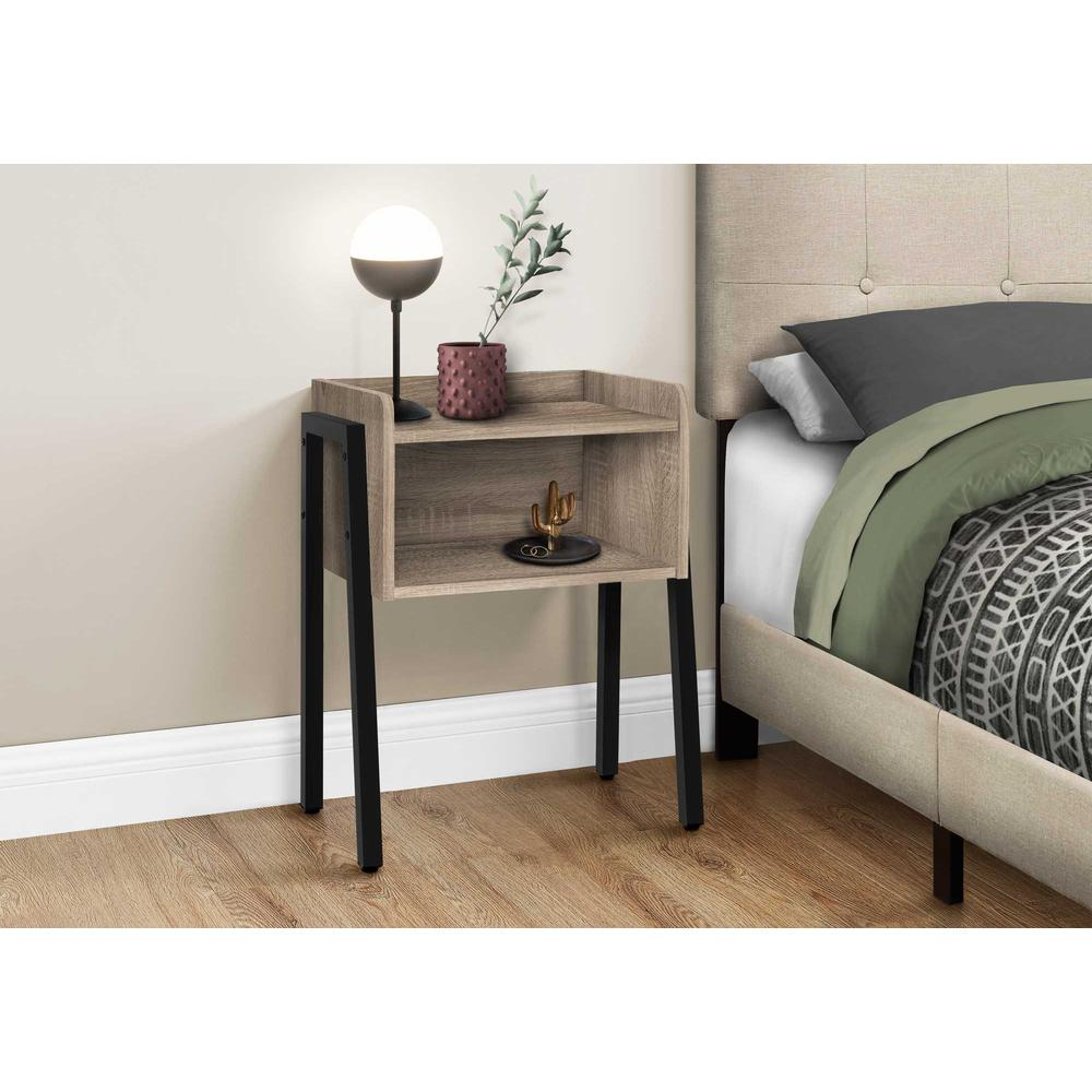 """23"""" Rectangular Dark Taupe Accent Table with Black Metal Legs - 376518. Picture 2"""