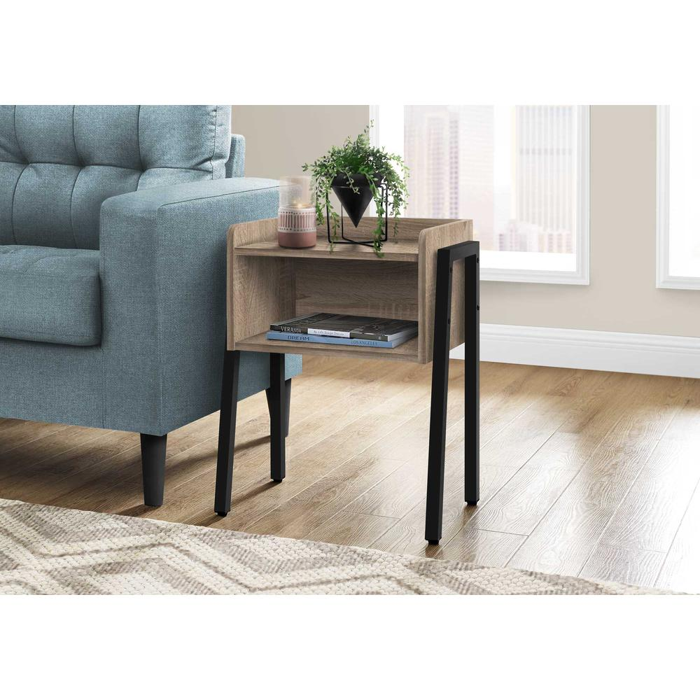 """23"""" Rectangular Dark Taupe Accent Table with Black Metal Legs - 376518. Picture 3"""