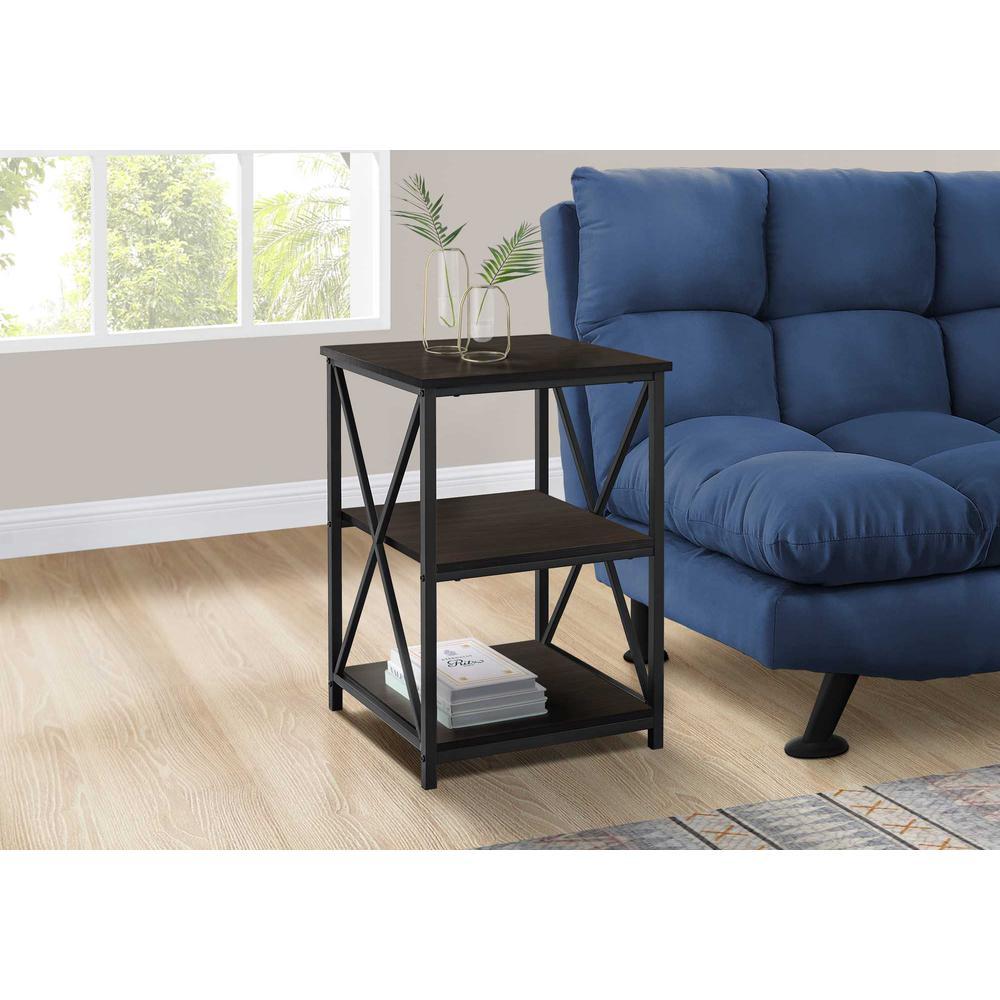 """26"""" Rectangular Espresso Black Metal Accent Table - 376523. Picture 3"""