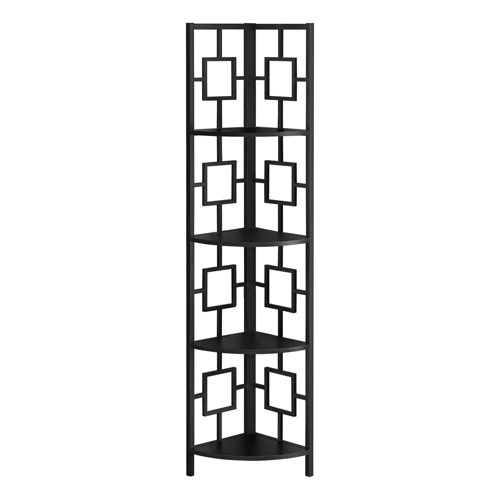 """62"""" Metal Corner Black Bookcase with 4 shelves - 376525. Picture 1"""