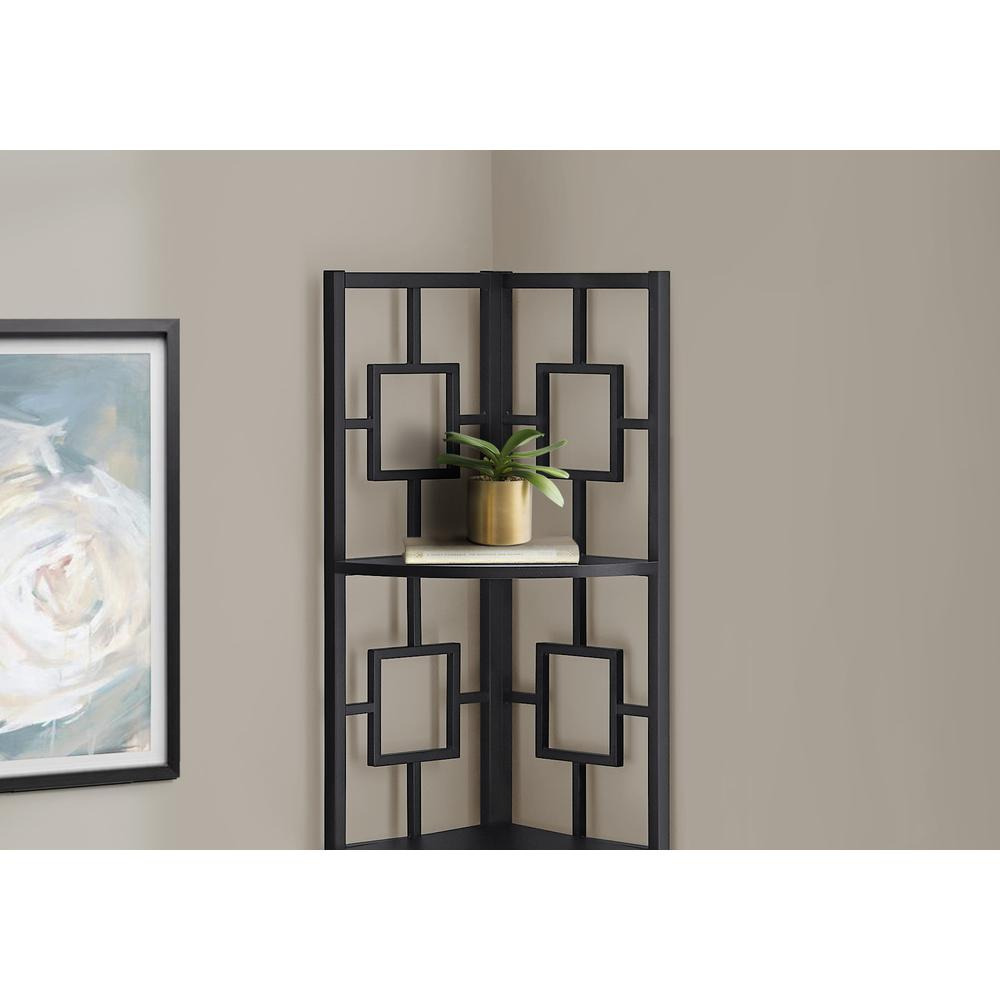 """62"""" Metal Corner Black Bookcase with 4 shelves - 376525. Picture 2"""