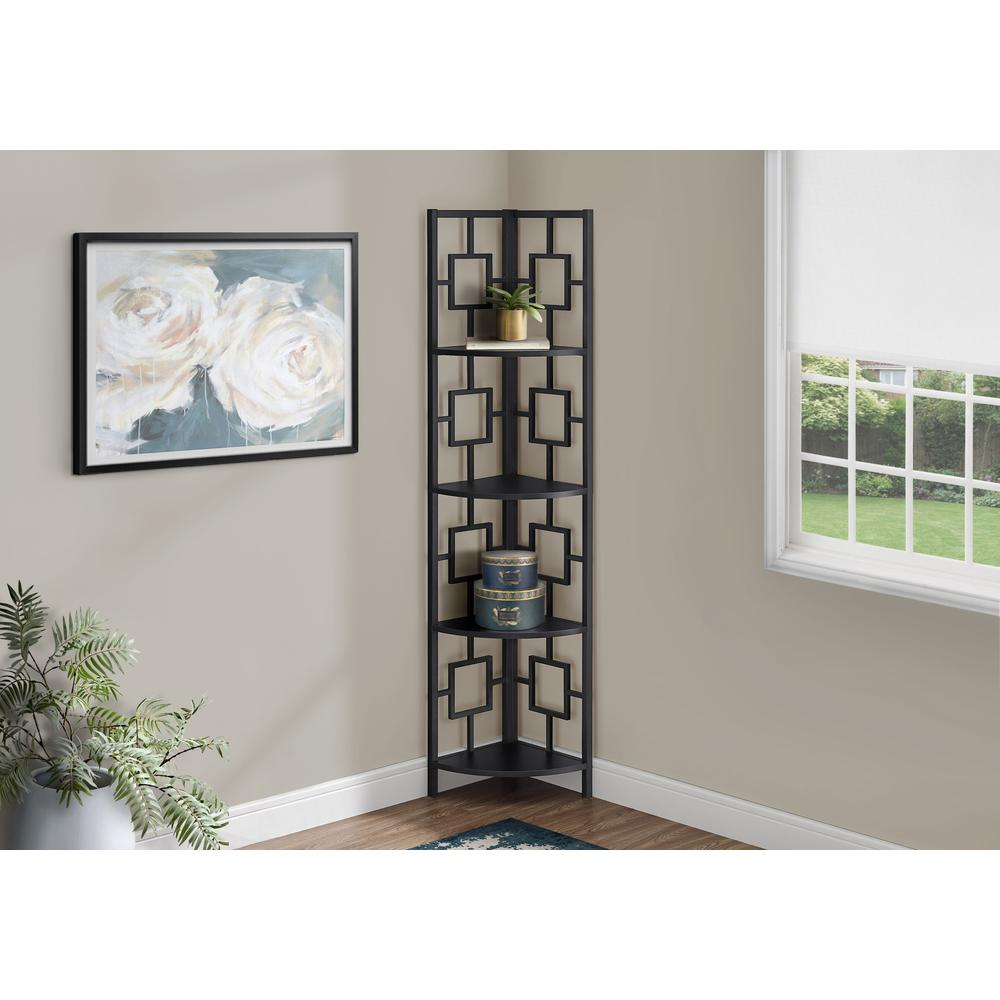"""62"""" Metal Corner Black Bookcase with 4 shelves - 376525. Picture 3"""