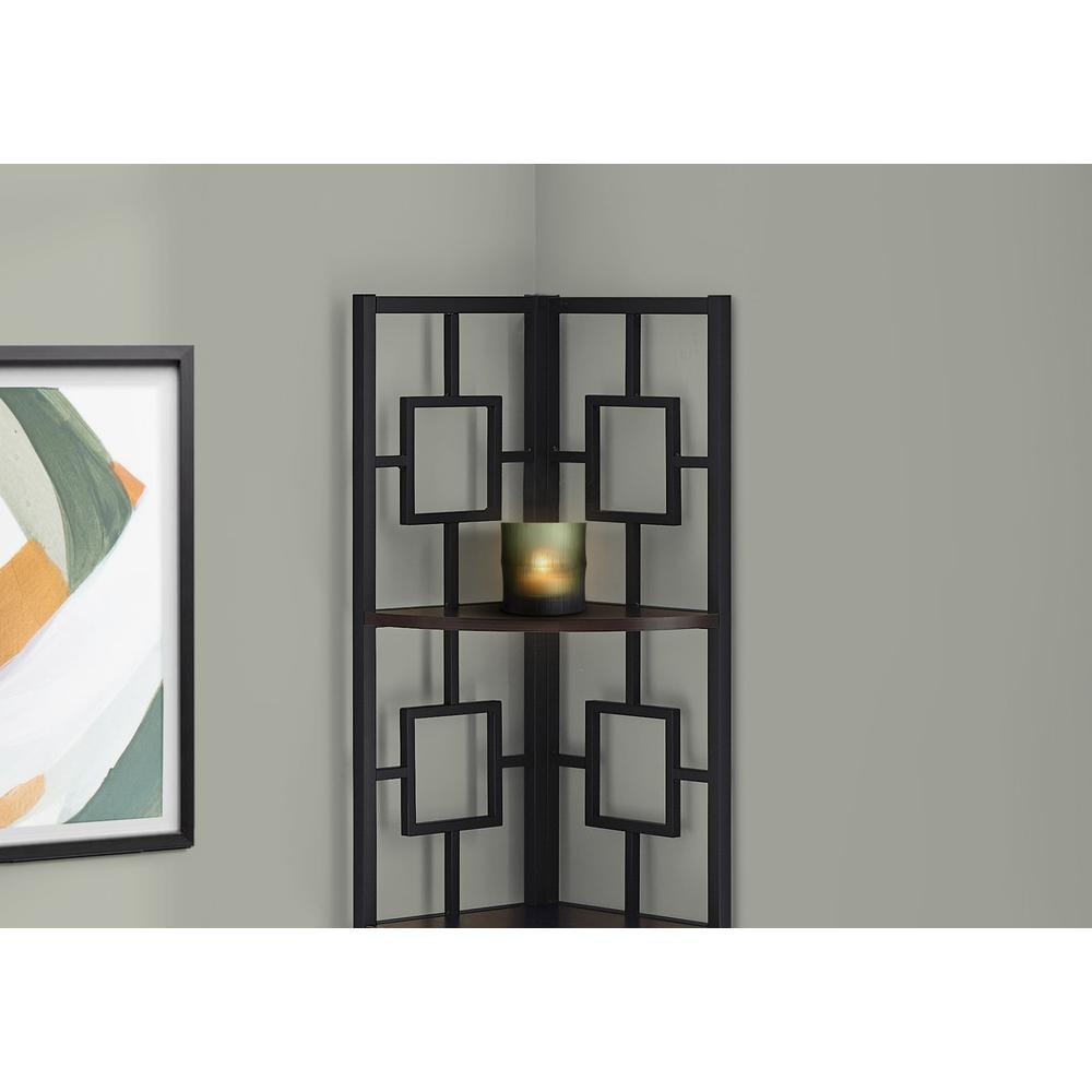 "62"" Bookcase EspressoandBlack Metal Corner Etagere with 4 shelves - 376527. Picture 2"